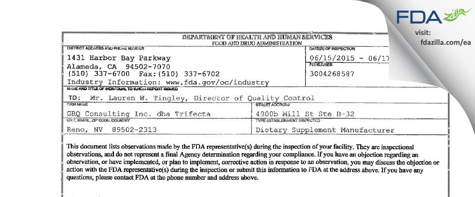 GRQ Consulting dba Trifecta FDA inspection 483 Jun 2015