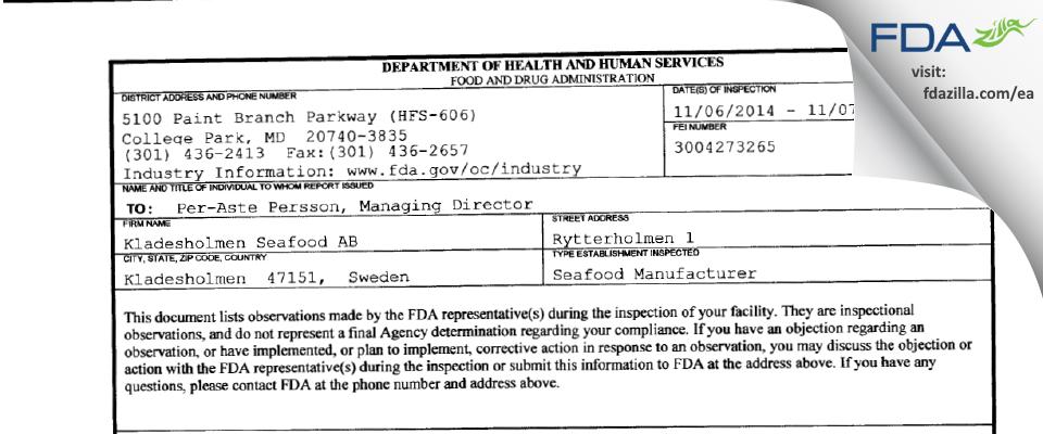 Kladesholmen Seafood AB FDA inspection 483 Nov 2014