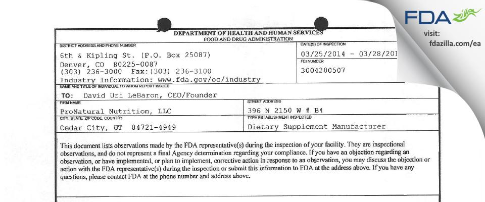 ProNatural Nutrition FDA inspection 483 Mar 2014