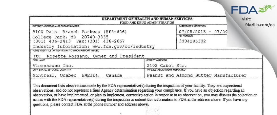 Vicrossano FDA inspection 483 Jul 2013
