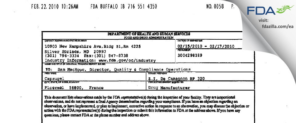 Capsugel Ploermel,S. FDA inspection 483 Feb 2010