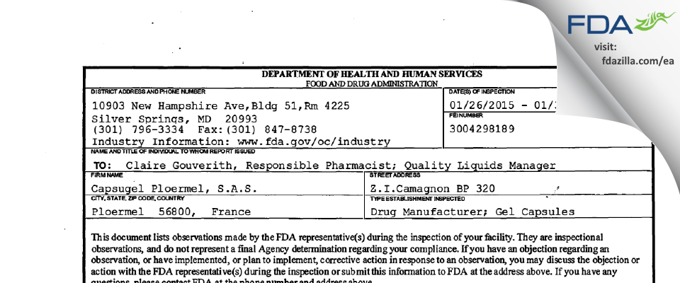 Capsugel Ploermel,S. FDA inspection 483 Jan 2015