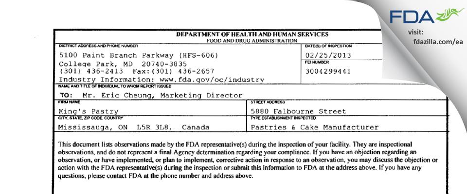 King's Pastry FDA inspection 483 Feb 2013