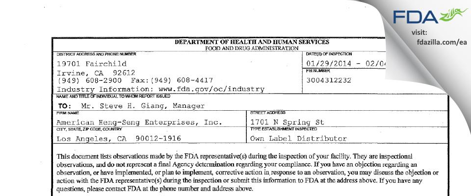 American Heng-Seng Enterprises FDA inspection 483 Feb 2014