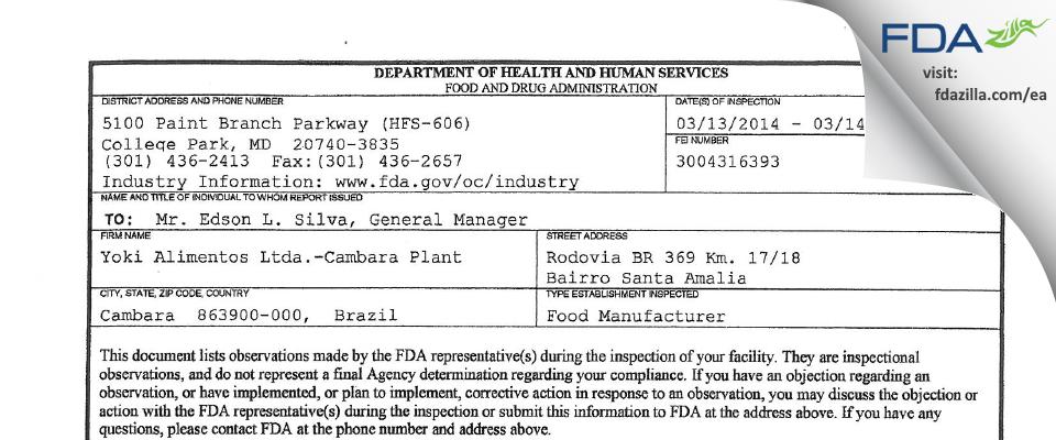 Yoki Alimentosa.-Cambara Plant FDA inspection 483 Mar 2014