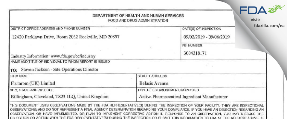 Frutarom (UK) FDA inspection 483 Sep 2019