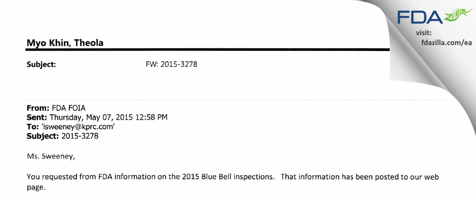 Blue Bell Creameries, LP, Snack Plant FDA inspection 483 May 2015