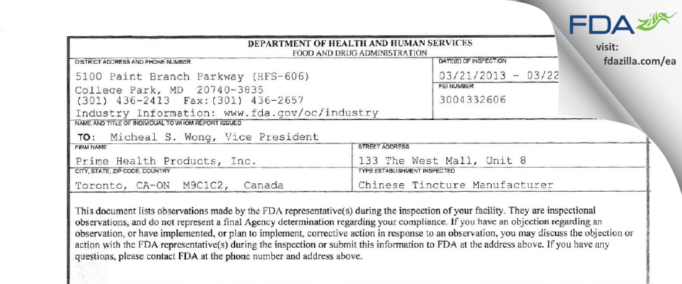 Prime Health Products FDA inspection 483 Mar 2013