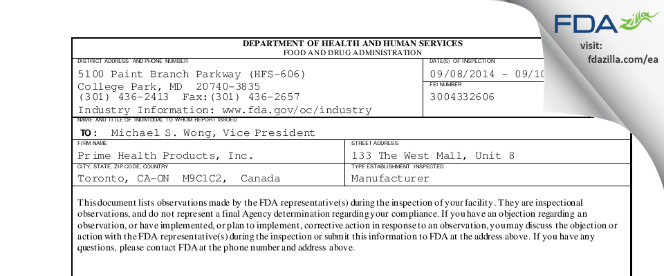 Prime Health Products FDA inspection 483 Sep 2014