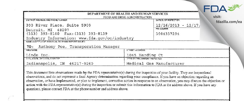 Linde FDA inspection 483 Dec 2013