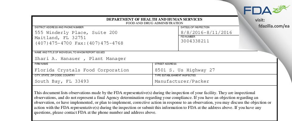 Florida Crystals Food FDA inspection 483 Aug 2016