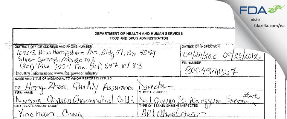 Ningxia Qiyuan Pharmaceutical FDA inspection 483 Sep 2012