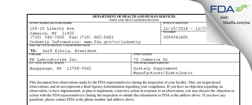 FB Labs FDA inspection 483 Nov 2014