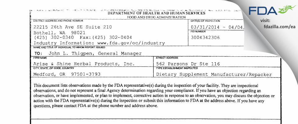 Avalon Acres dba Arise & Shine FDA inspection 483 Apr 2014