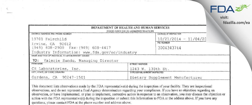 CH Labs. FDA inspection 483 Nov 2014