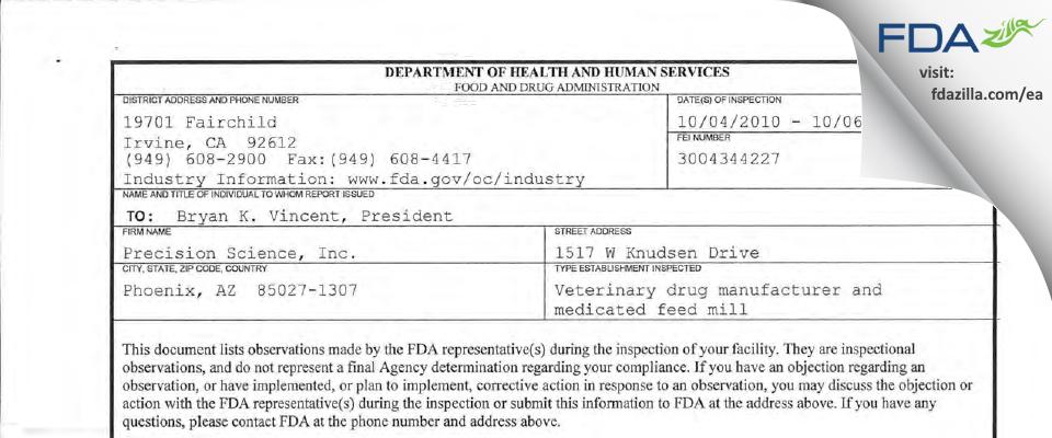 Precision Science FDA inspection 483 Oct 2010