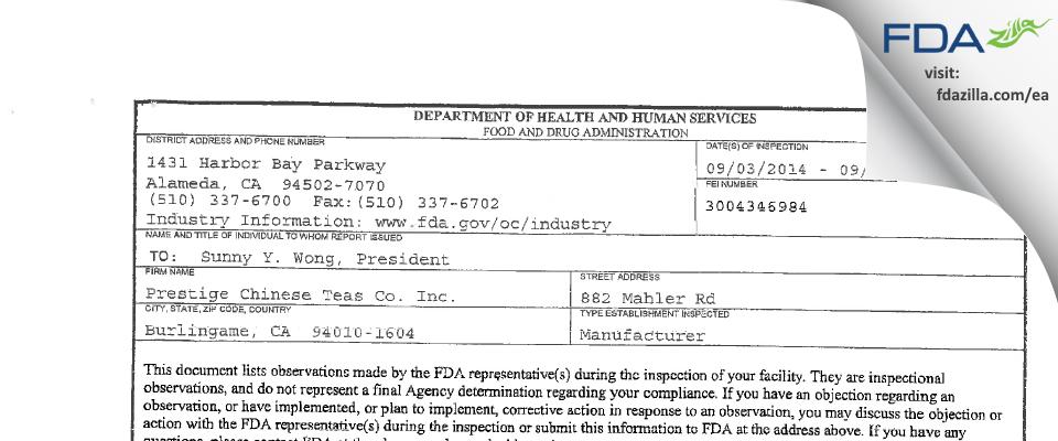 Prestige Chinese Teas FDA inspection 483 Sep 2014