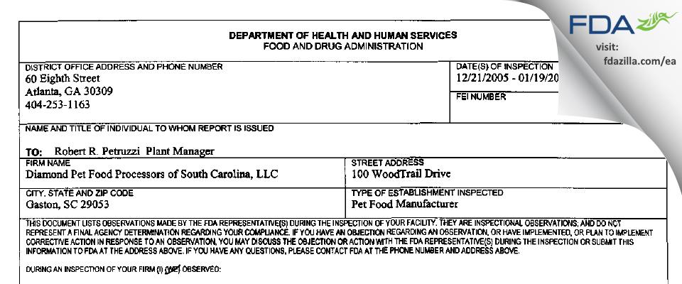 Diamond Pet Foods FDA inspection 483 Jan 2006