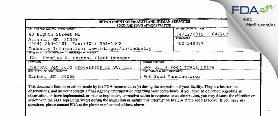 Diamond Pet Foods FDA inspection 483 Apr 2012