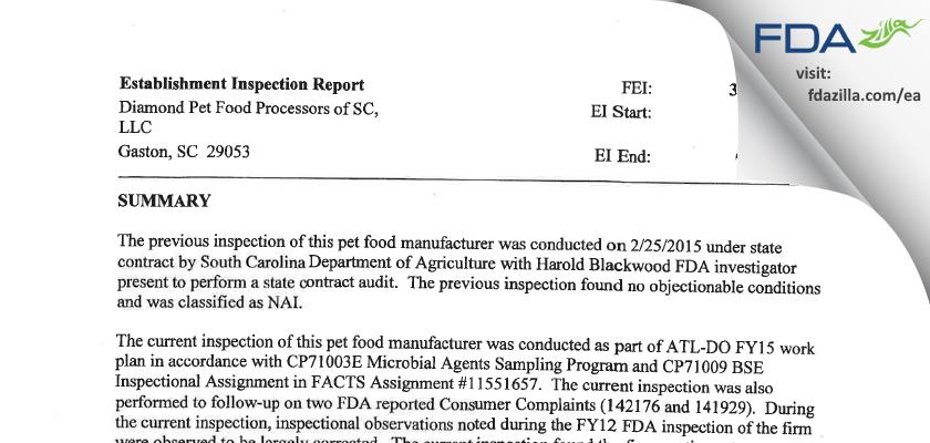 Diamond Pet Foods FDA inspection 483 Aug 2015
