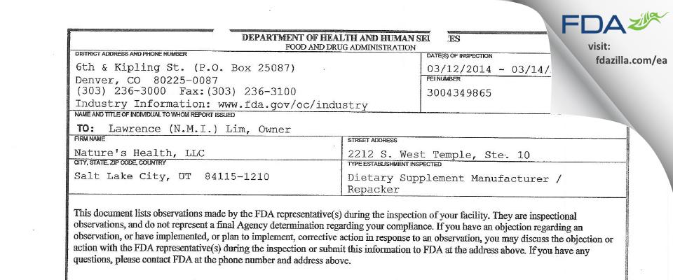 Nature's Health FDA inspection 483 Mar 2014