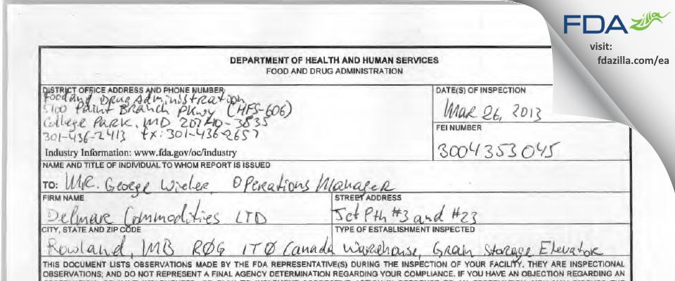 Delmar Commodities FDA inspection 483 Mar 2013