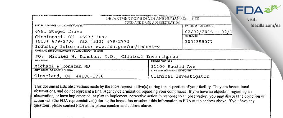 Michael W Konstan MD FDA inspection 483 Feb 2015