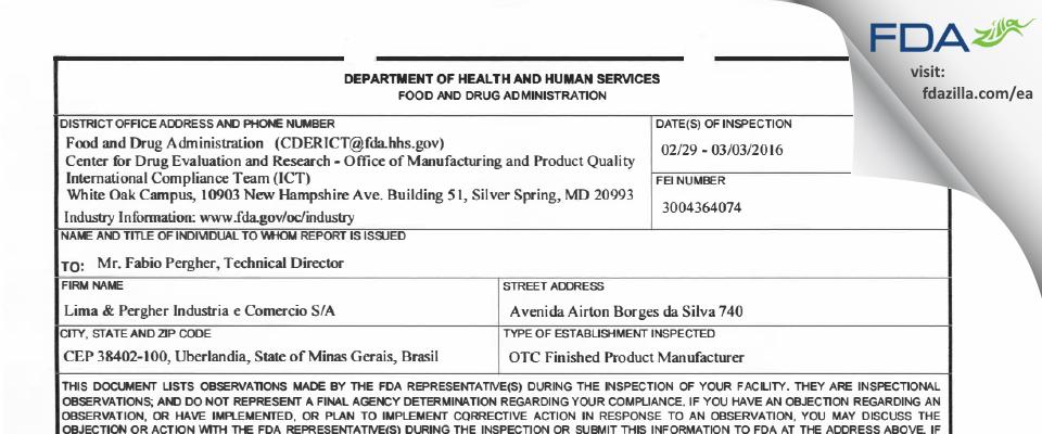 Lima & Pergher Industria e Comercio S/A FDA inspection 483 Mar 2016