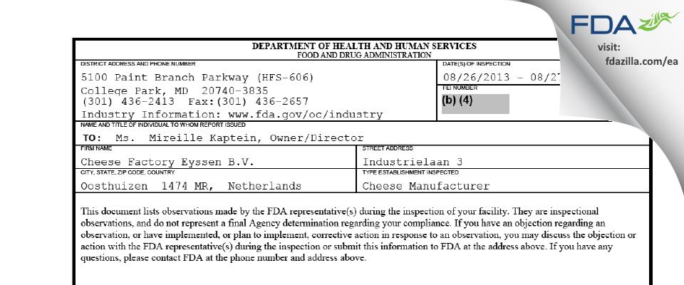 Cheese Factory Eyssen B.V. FDA inspection 483 Aug 2013