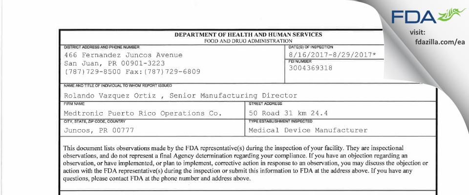 Medtronic Puerto Rico Operations FDA inspection 483 Aug 2017