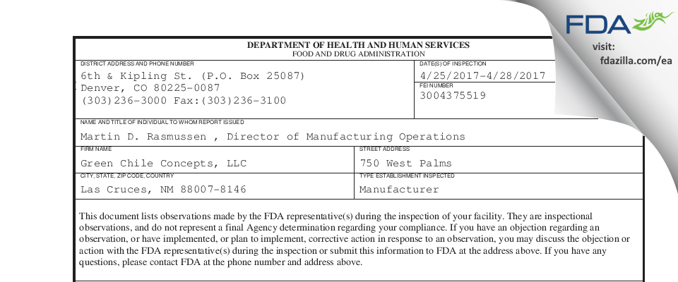 Green Chile Concepts FDA inspection 483 Apr 2017