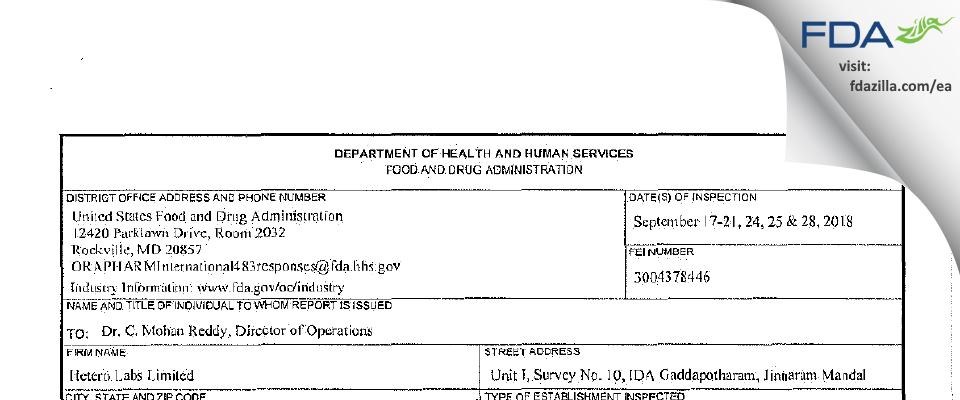 Hetero Labs FDA inspection 483 Sep 2018
