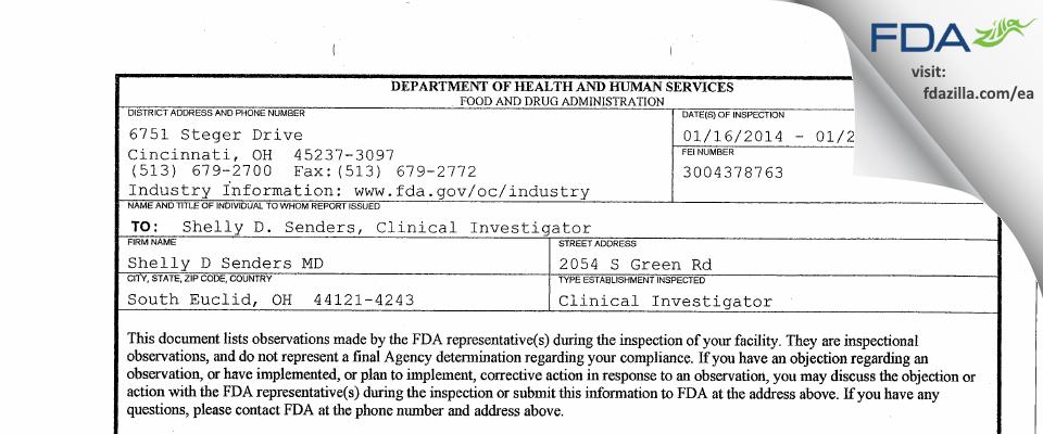 Shelly D Senders MD FDA inspection 483 Jan 2014