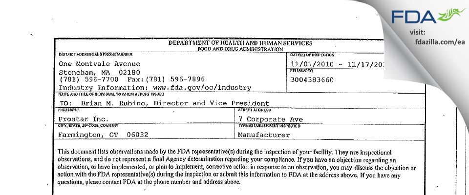 Prostar FDA inspection 483 Nov 2010
