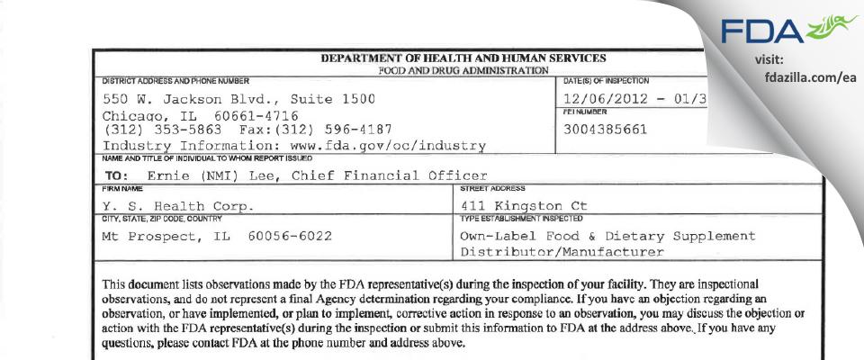 Y. S. Health FDA inspection 483 Jan 2013