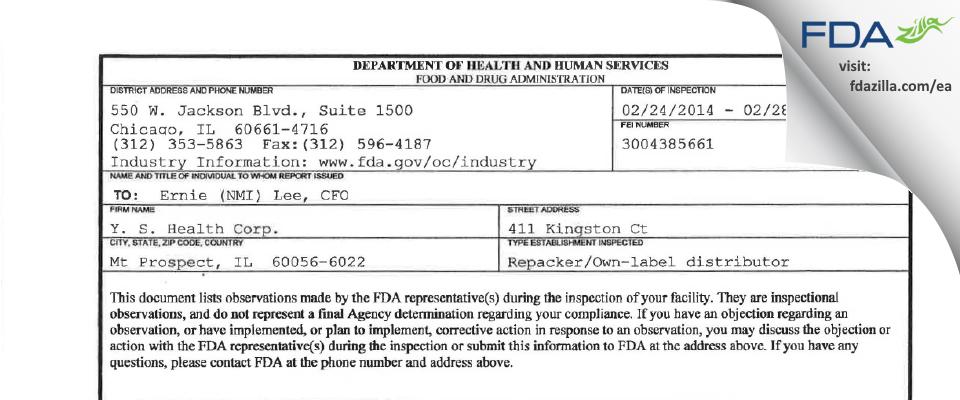 Y. S. Health FDA inspection 483 Feb 2014