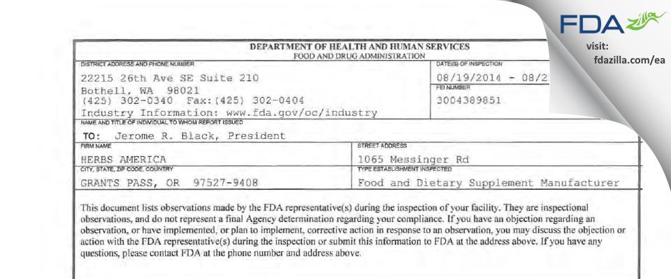 Herbs America FDA inspection 483 Aug 2014