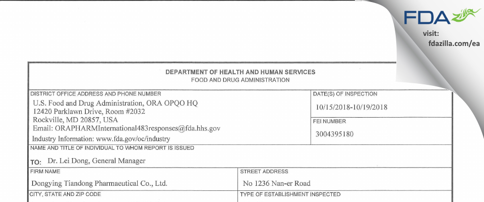 Dongying Tiandong Pharmaceutical FDA inspection 483 Oct 2018