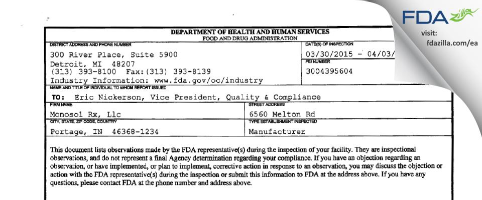 Monosol Rx FDA inspection 483 Apr 2015