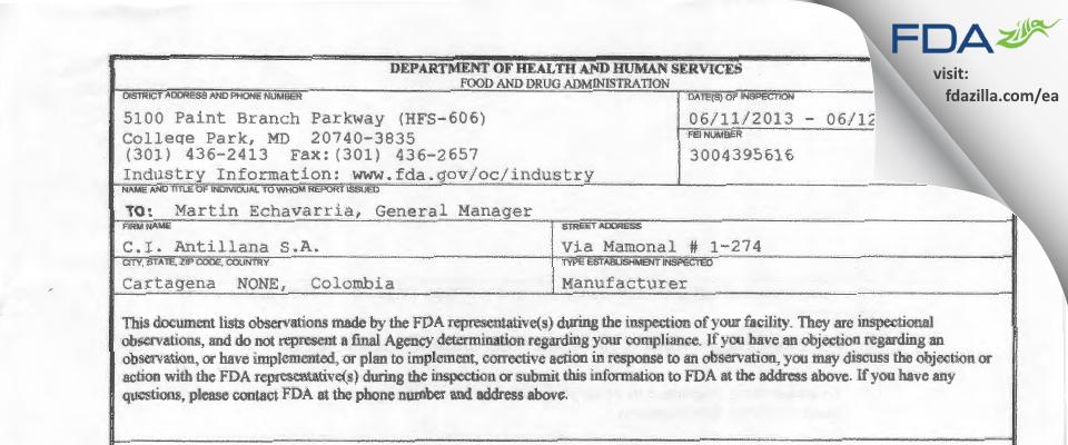 C.I. Antillana FDA inspection 483 Jun 2013