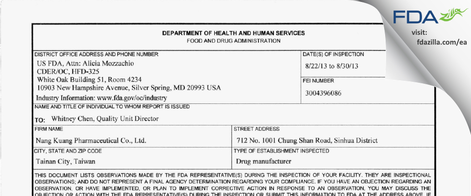 Nang Kuang Pharmaceutical FDA inspection 483 Aug 2013