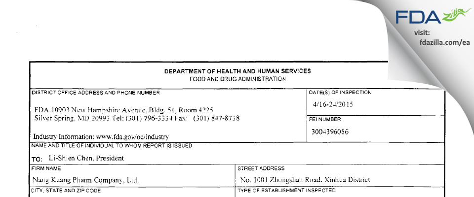 Nang Kuang Pharmaceutical FDA inspection 483 Apr 2015