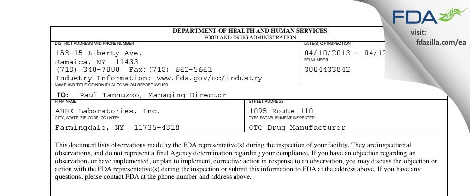 ABBE Labs FDA inspection 483 Apr 2013
