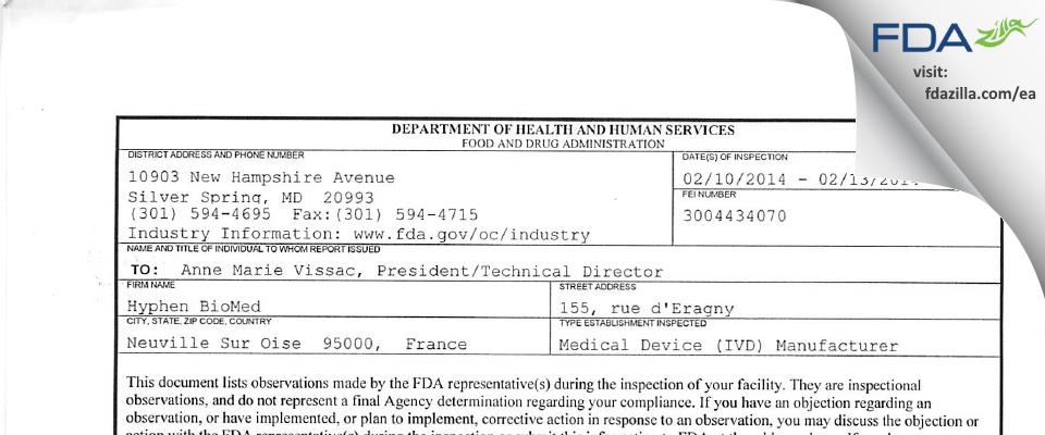 Hyphen BioMed FDA inspection 483 Feb 2014