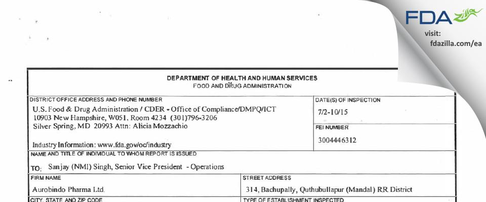 Aurobindo Pharma (Unit XII) FDA inspection 483 Jul 2015