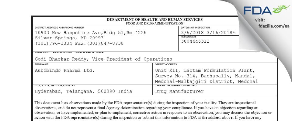 Aurobindo Pharma FDA inspection 483 Mar 2018