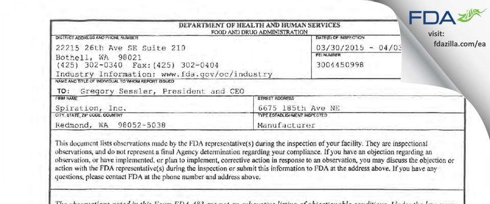 Spiration d/b/a Olympus Respiratory America FDA inspection 483 Apr 2015