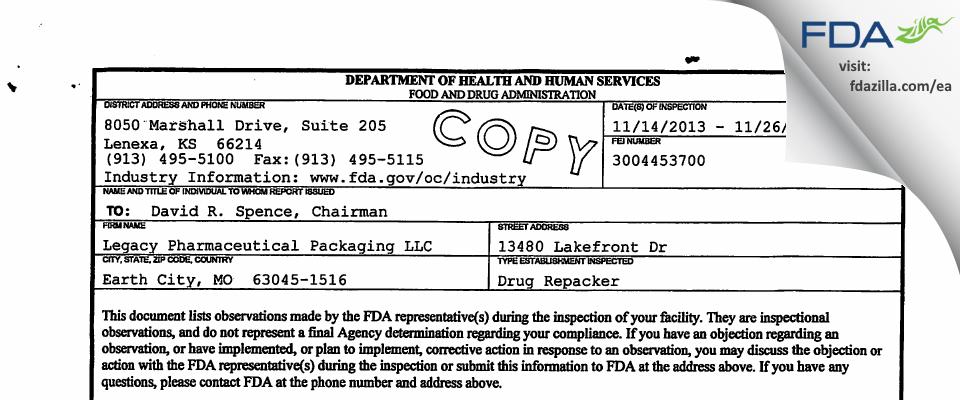 Legacy Pharmaceutical Packaging FDA inspection 483 Nov 2013