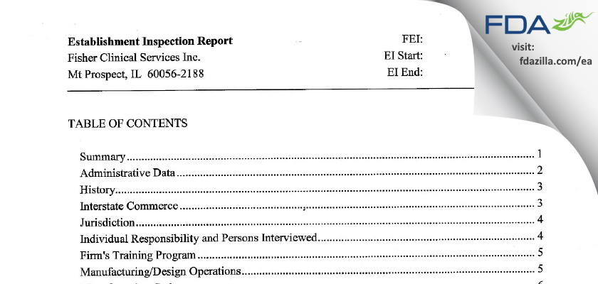 Fisher Clinical Services FDA inspection 483 Feb 2012