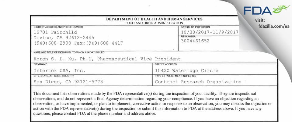 Intertek USA FDA inspection 483 Nov 2017